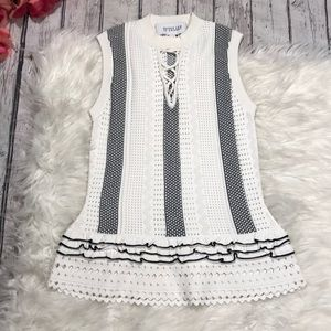 10 Crosby Derek Lam Knitted Ruffle Lace Up Tank